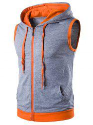 Hooded Zip Up Tank Top -