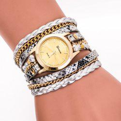 Faux Leather Strap Wrap Bracelet Watch - SILVER