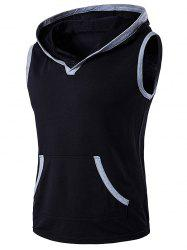 Hooded Pocket Sleeveless T-Shirt
