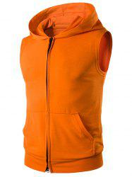 Hooded Zip Up Sleeveless T-Shirt - TANGERINE PATTERN