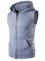 Hooded Zip Up Sleeveless T-Shirt