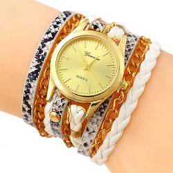 Faux Leather Strap Wrap Bracelet Watch -