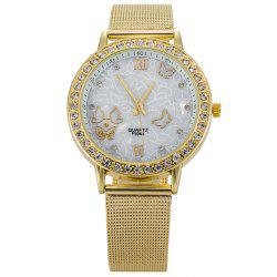Alloy Mesh Strap Rhinestone Butterfly Watch - GOLDEN
