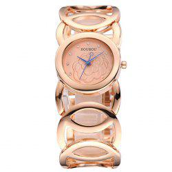 SOUSOU Circle Alloy Strap Flower Watch