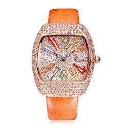 SOUSOU Rhinestoned Number Quartz Watch