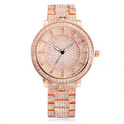 SOUSOU Alloy Strap Rhinestoned Quartz Watch