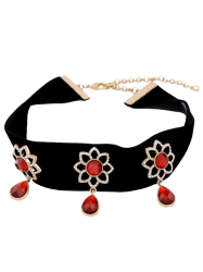 Artificial Ruby Sunflower Teardrop Choker Necklace