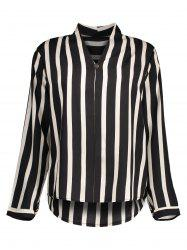 Stripe Chiffon Plus Size Blouse