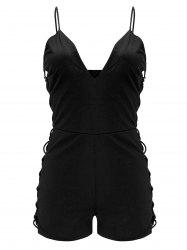 Spaghetti Strap Hollow Out Criss Cross Romper - BLACK