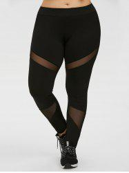 Plus Size Mesh Panel Workout Leggings - BLACK
