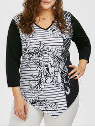 V Neck Plus Size Striped Pattern Asymmetric T-Shirt - BLACK 5XL