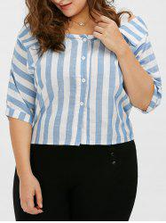 Plus Size Button Flat Cold Shoulder Stripe Shirt