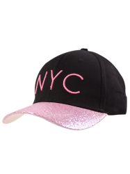 Pailletée Brim NYC Embroideried Baseball Hat - Noir Et Rose