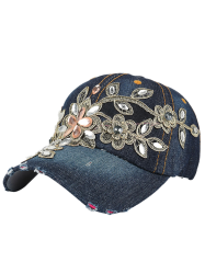 Denim Baseball Hat with Flower Embroidery Rhinestone - MIDNIGHT