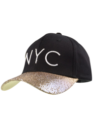 Sequined Brim NYC Embroidered Baseball Hat