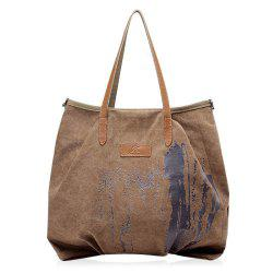 Casual Ink Splatter Canvas Shoulder Bag