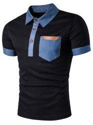 Faux Leather Denim Panel Polo T-Shirt