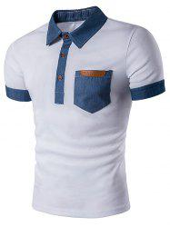 Denim T-shirt en cuir Faux Panel Polo - Blanc