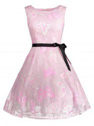 Plus Size Butterfly Jacquard A Line Short Formal Dress - LIGHT PINK XL