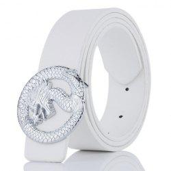 Dragon Shape Embellished Wide Belt - WHITE