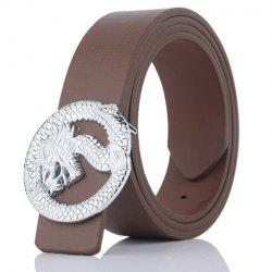 Dragon Shape Embellished Wide Belt - COFFEE