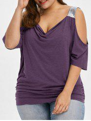 Plus Size Cold Shoulder Sequined Trim T-Shirt -