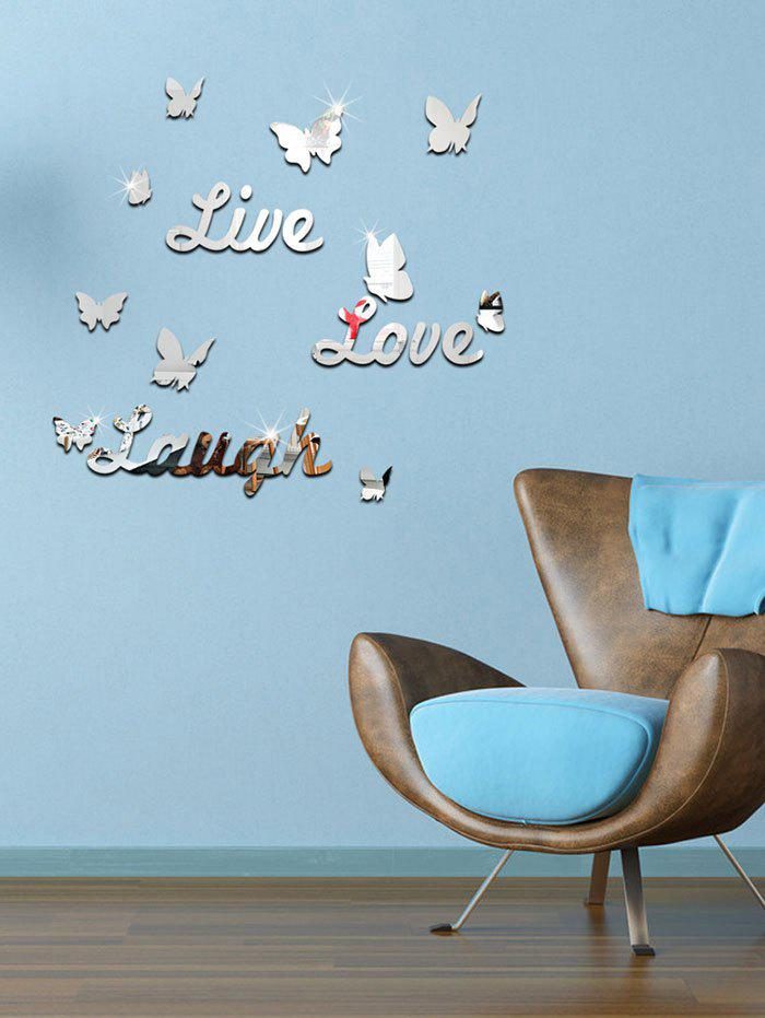 3D Butterfly Letter Acrylic Removable Mirror Wall StickerHOME<br><br>Color: SILVER; Wall Sticker Type: Mirror Wall Stickers; Functions: Decorative Wall Stickers; Theme: Shapes; Material: Acrylic,Plastic; Feature: Removable; Weight: 0.4000kg; Package Contents: 1 x Wall Sticker;