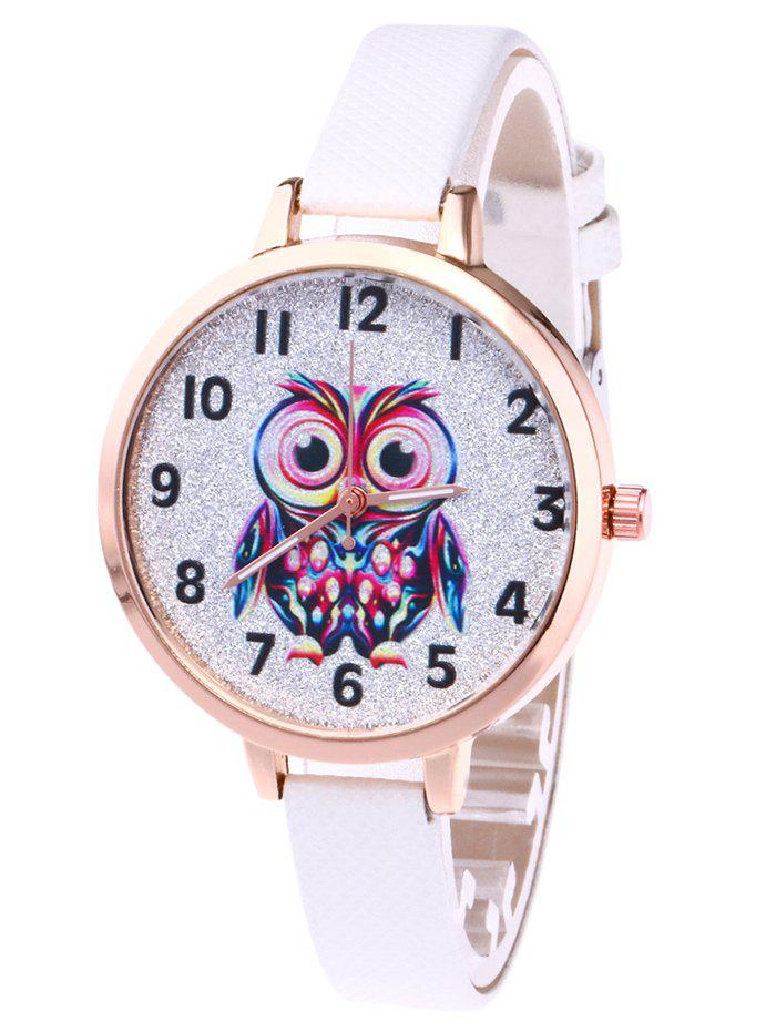 Faux Leather Strap Owl Glitter WatchJEWELRY<br><br>Color: WHITE; Gender: For Women; Style: Fashion; Type: Quartz watch; Index Dial: Analog; Case material: Alloy; Band material: PU Leather; Movement: Quartz; Dial Shape: Round; Water-Proof: No; Case Thickness(MM): 8mm; Dial Diameter: 3.6cm; Band Length(CM): 22cm; Band Width(CM): 1.0cm; Package Contents: 1 x Watch;