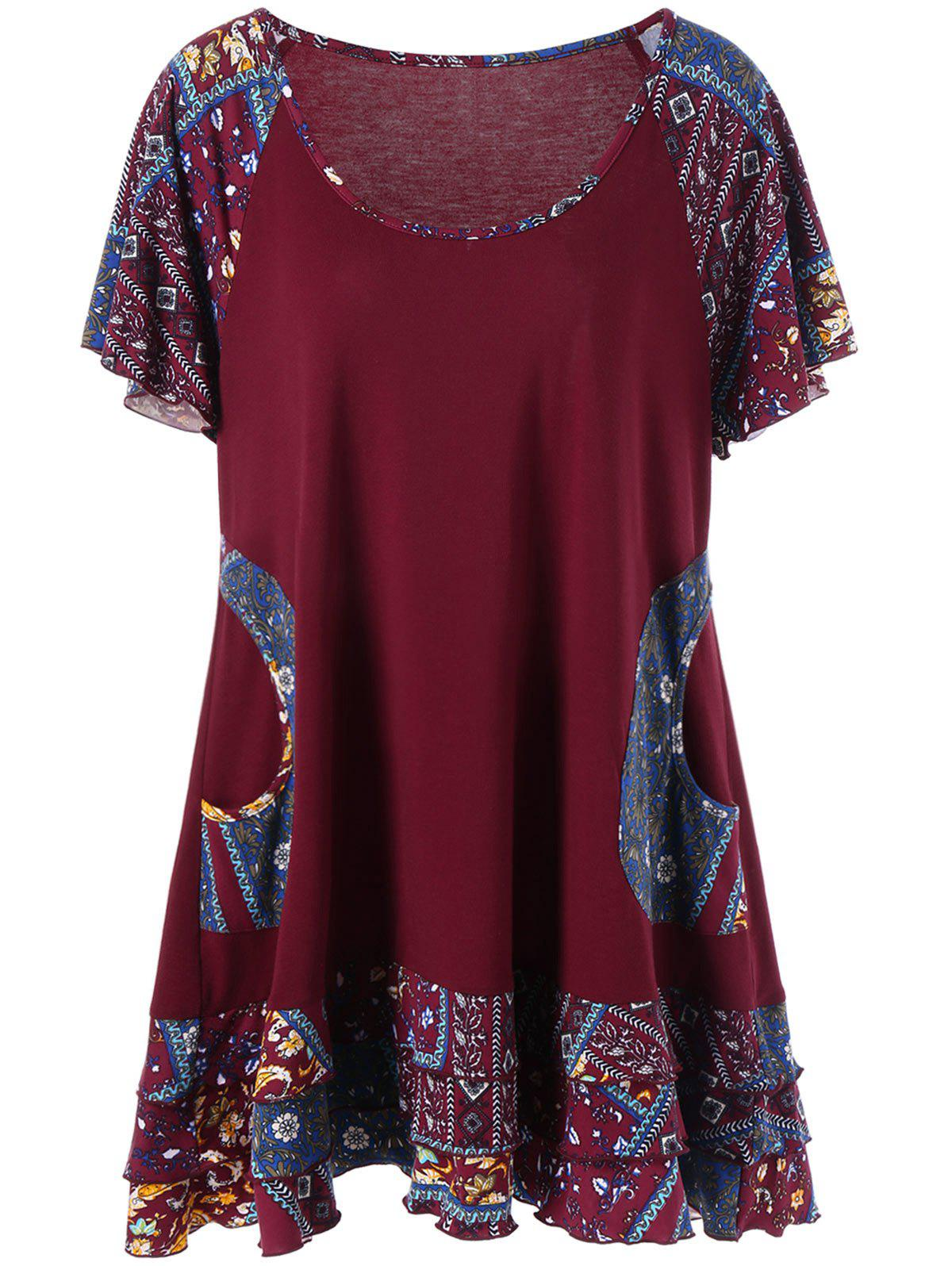Plus Size Raglan Sleeve Layered Top with PocketsWOMEN<br><br>Size: XL; Color: DEEP RED; Material: Polyester,Spandex; Shirt Length: Long; Sleeve Length: Short; Collar: Scoop Neck; Style: Casual; Season: Summer; Pattern Type: Floral; Weight: 0.3500kg; Package Contents: 1 x Top;