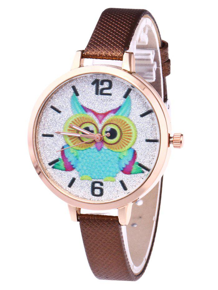Latest Owl Faux Leather Strap Glitter Watch