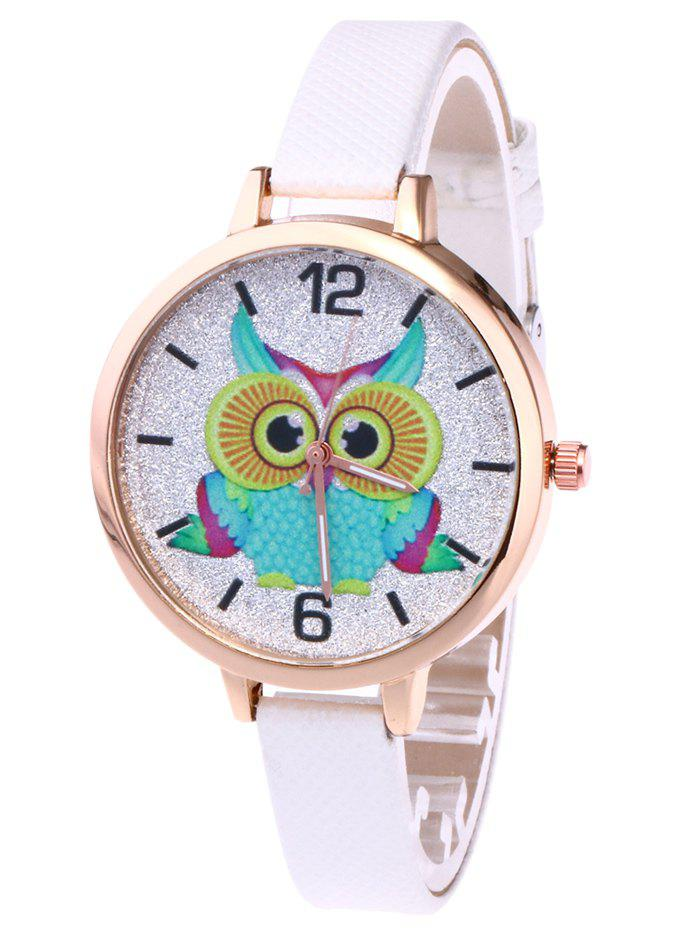 Hot Owl Faux Leather Strap Glitter Watch