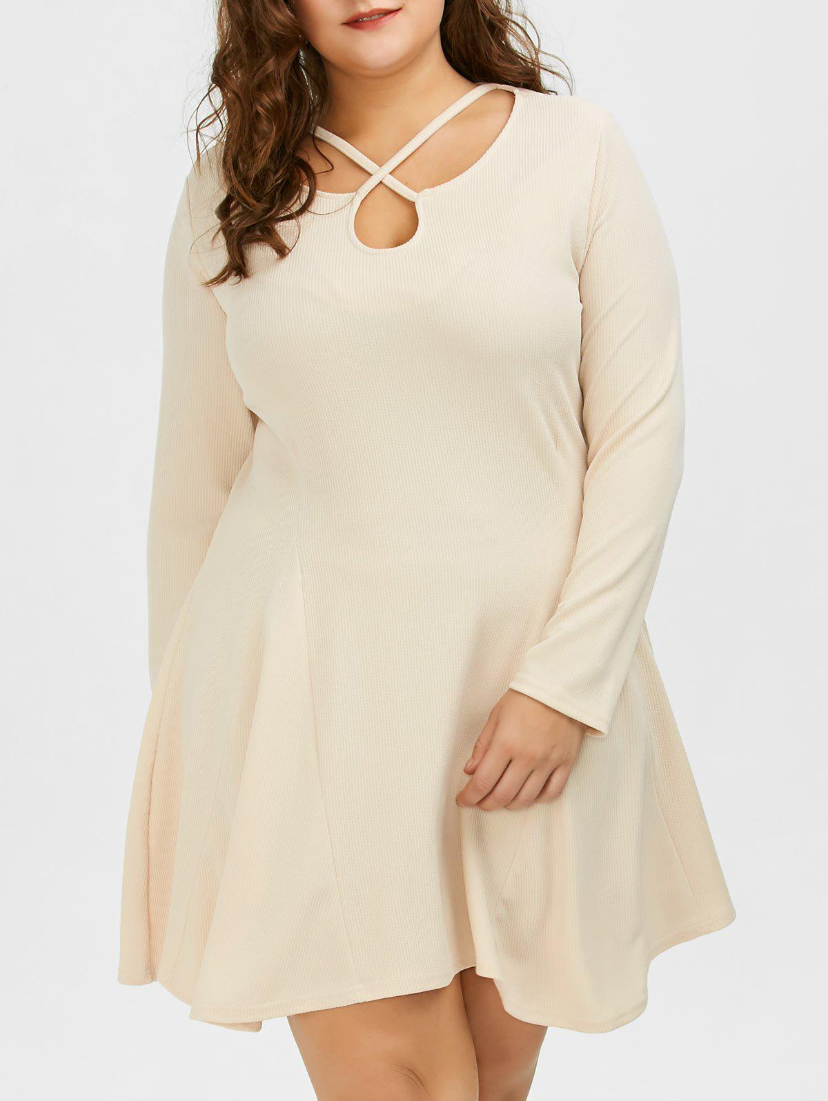 Cutout Plus Size Skater Dress with Long SleevesWOMEN<br><br>Size: 4XL; Color: LIGHT KHAKI; Style: Club; Material: Cotton,Cotton Blend,Polyester; Silhouette: A-Line; Dresses Length: Mini; Neckline: Sweetheart Neck; Sleeve Length: Long Sleeves; Waist: High Waisted; Embellishment: Criss-Cross,Hollow Out; Pattern Type: Solid Color; With Belt: No; Season: Fall,Spring; Weight: 0.3600kg; Package Contents: 1 x Dress;