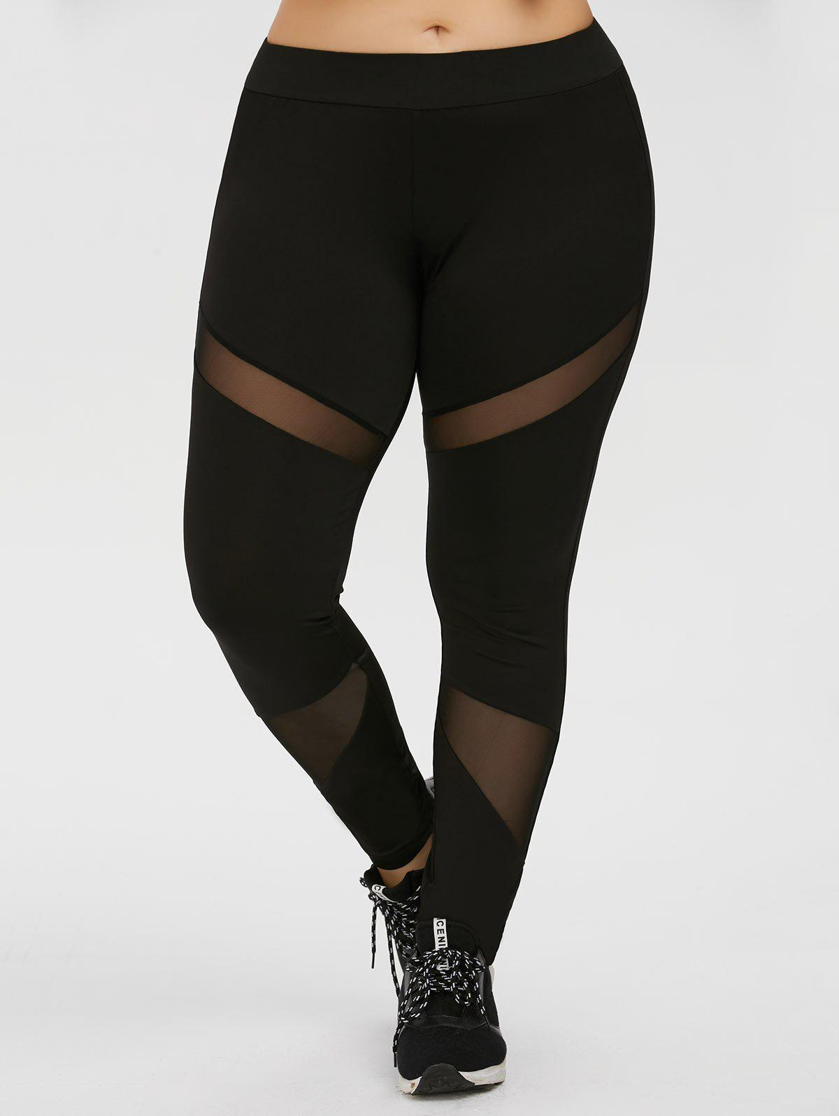 Plus Size Mesh Panel Workout LeggingsWOMEN<br><br>Size: 4XL; Color: BLACK; Style: Fashion; Length: Ninth; Material: Cotton Blends,Polyester,Spandex; Fit Type: Skinny; Waist Type: High; Closure Type: Elastic Waist; Pattern Type: Solid; Pant Style: Pencil Pants; Weight: 0.2700kg; Package Contents: 1 x Leggings;
