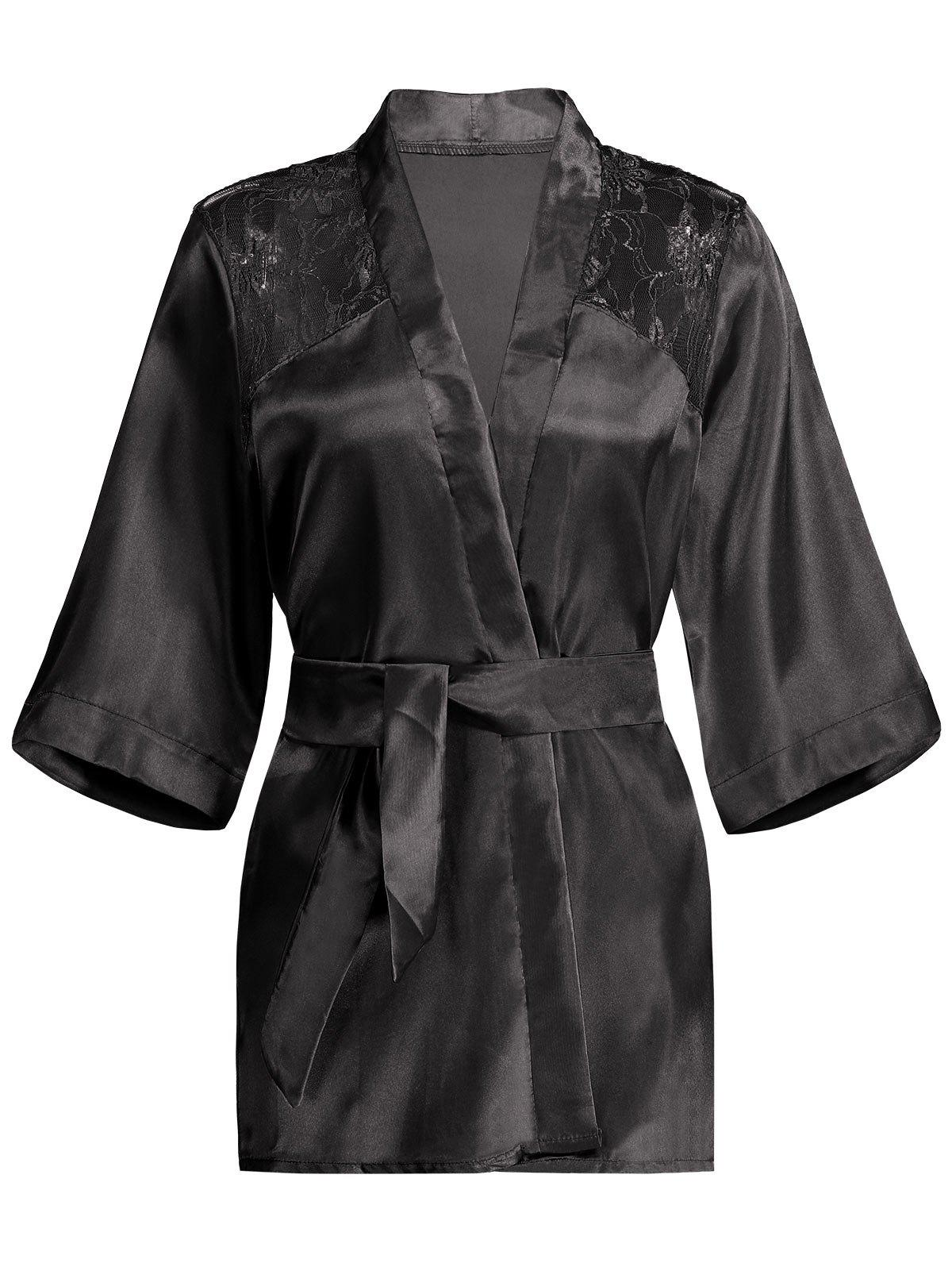 Lace Panel Sleep Wrap RobeWOMEN<br><br>Size: S; Color: BLACK; Material: Polyester; Pattern Type: Solid; Weight: 0.2100kg; Package Contents: 1 x Robe  1 x Belt;