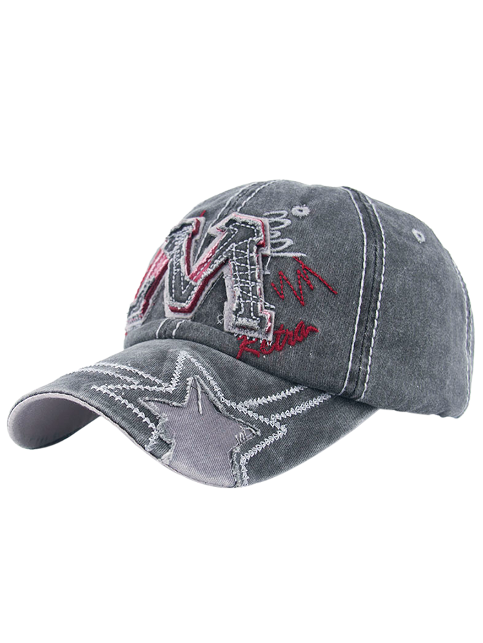 2018 Frayed Letter M And Star Design Baseball Hat In Black Grey ... aaa8c1c1d47