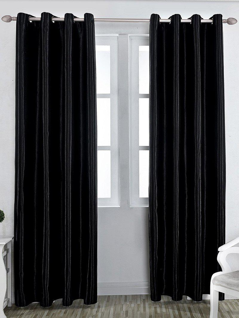 Grommet Thermal Insulated Window Blackout CurtainHOME<br><br>Size: W57 INCH * L96 INCH; Color: BLACK; Applicable Window Type: French Window; Function: Blackout; Installation Type: Ceiling Installation; Location: Window; Material: Polyester / Cotton; Opening and Closing Method: Left and Right Biparting Open; Pattern Type: Solid; Processing: Punching; Processing Accessories Cost: Excluded; Style: Modern; Type: Curtain; Use: Cafe,Home,Hospital,Hotel,Office; Weight: 0.7000kg; Package Contents: 1 x Blackout Curtain;