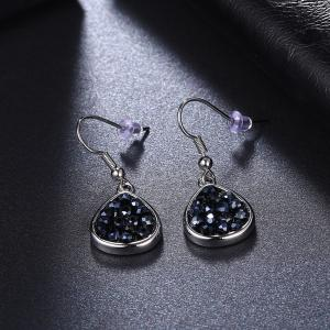 Teardrop Artificial Crystal Drop Earrings - SILVER