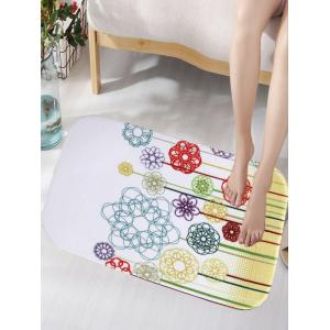 Flower Shape Geometric Pattern Flannel Antislip Bathroom Rug