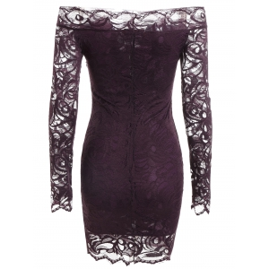 Long Sleeve Off The Shoulder Bodycon Lace Mini Dress - CONCORD M