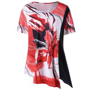 Floral Asymmetric Plus Size Longline T-Shirt - Black And White And Red - 3xl