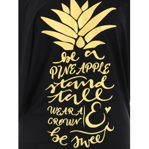 Letters Pineapple Batwing Skew Neck Top - BLACK AND GOLDEN XL