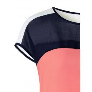 Cap Sleeve Color Block Curved Blouse - COLORMIX M