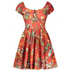 Vintage Figure Printed Fit and Flare Dress