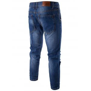 Distressed Zip Fly Faded Jeans - BLUE 32
