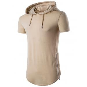 Hooded Side Zip Up Hem T-Shirt