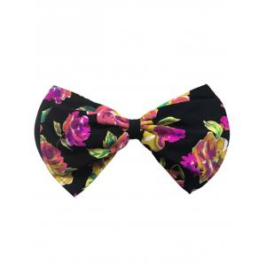 Bowknot Floral Bandeau Bikini Top - Black And Red - L