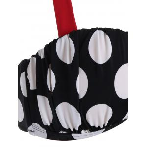 High Waisted Polka Dot Bikini - BLACK WHITE XL