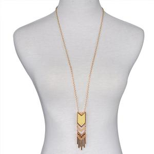 Geometric Fringed Alloy Sweater Chain -