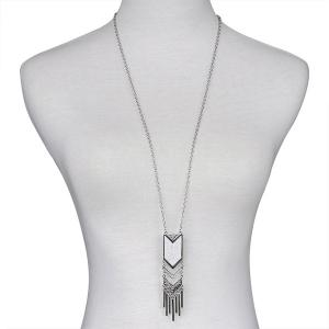 Geometric Fringed Alloy Sweater Chain - SILVER