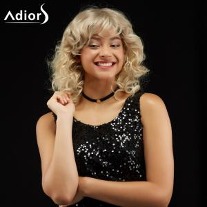 Adiors Medium Curl Hairstyle Side Bang Fluffy Synthetic Wig